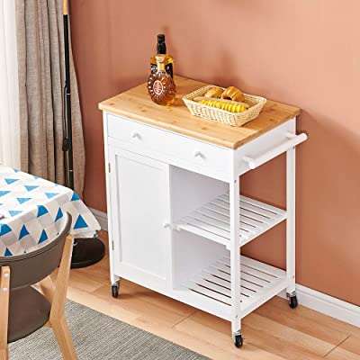 Buy 4homart Yvonne F L A M Kitchen Island Cart Dining Cart With 2 Tier Holder Kitchen Serving Carts Rolling Bar Cart Rolling Utility Trolley On Wheels With Storage Drawer Online In Germany B08v4l7hpm