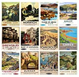 """Wall Calendar 2017 [12 pages 8""""x11""""] Britain Towns Vintage Railroad Travel Poster Ads"""