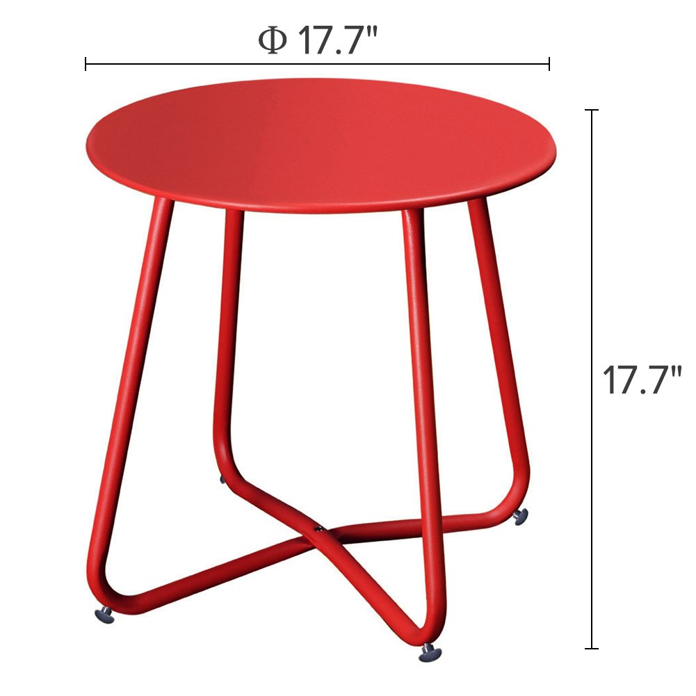 Grand patio Steel Coffee Bistro Table All Weather Outdoor Garden Backyard Ottoman Table, Red by Grand patio (Image #3)