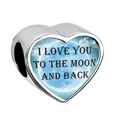05875982f Uniqueen I Love You To The Moon And Back Heart Photo Handmade Charms Beads  fit Chamilia Bracelet: Amazon.co.uk: Jewellery