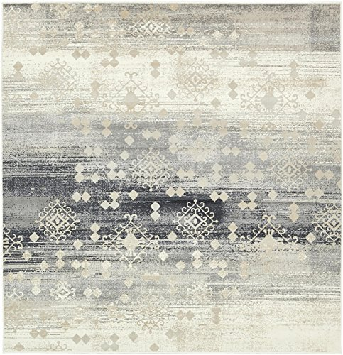 Unique Loom Chimera Collection Vintage Modern Abstract Dark Gray Square Rug (6' x 6') (Square Rug Gray)