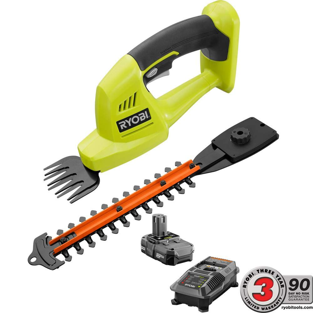 Ryobi 18-Volt Lithium-Ion Cordless Grass Shear and Shrubber Trimmer – 1.3 Ah Battery and Charger