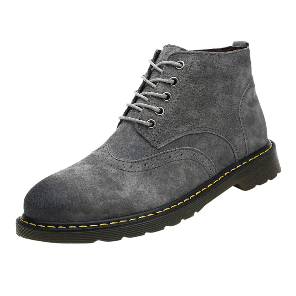 【MOHOLL】 Men's Hiking Boot Casual Work Lace Up Classic Motorcycle Combat Boots Leather Boots Shoes Gray