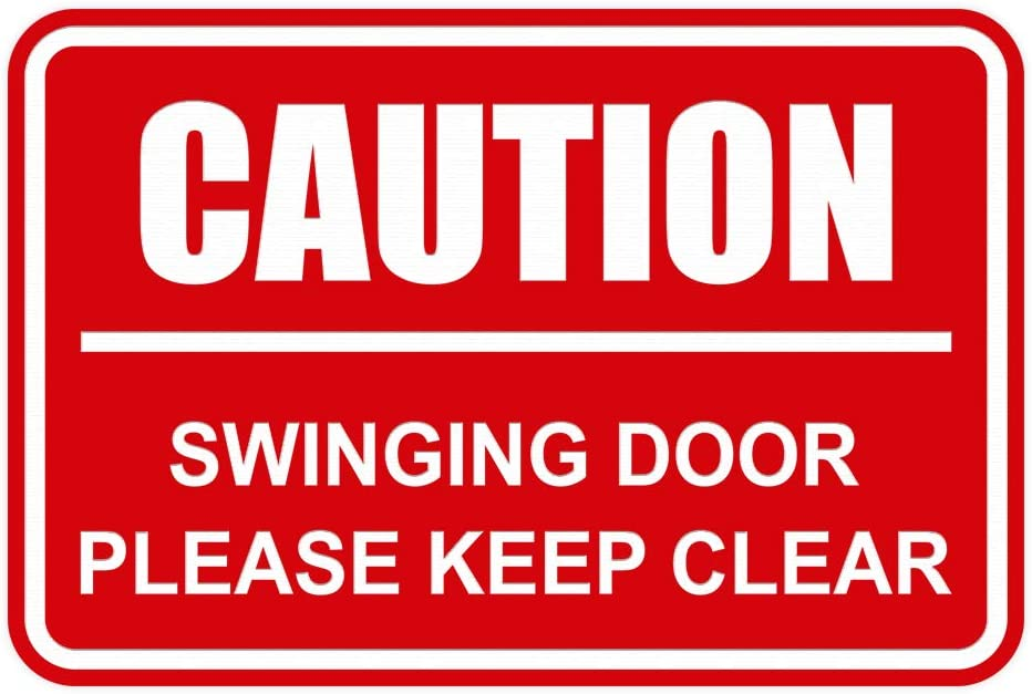Signs ByLITA Classic Framed Caution Swinging Door Please Keep Clear Sign (Red) - Medium