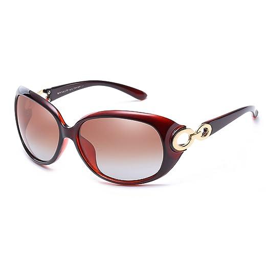 Damen Vintage Mode Polarisierte Sonnenbrille Übergroße für Autofahren Entspiegelten - 100% UV Schutz rISCwVlc5