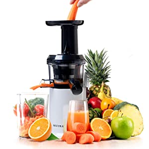 Secura GS-132 Slow Masticating Big Mouth' Cold Press Juicer, One Size Silver