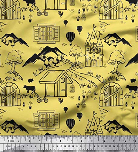 Soimoi Yellow Cotton Duck Fabric Sky & Iceland Nature Printed Fabric 1 Yard 42 Inch Wide