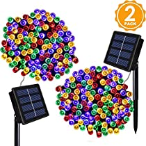 Lombriz 2 Pack Solar String Lights 72ft 22m 200 LED 8 Modes Solar Powered Outdoor Lighting Waterproof Christmas Fairy Lights for Xmas Tree Garden Homes Ambiance Wedding Lawn Party Decor (Warm White)