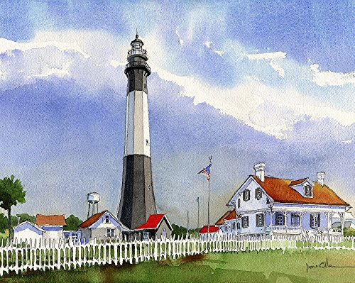Tybee Island Lighthouse, Georgia. Landscape by James Mann. Matted Watercolor Art Prints (8x10) ()