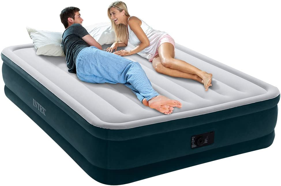 Intex Dura-Beam Series Elevated Comfort Airbed with Built-In Electric Pump For Couples