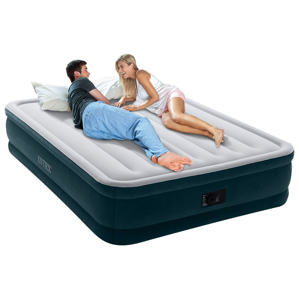 Intex Dura-Beam Series Elevated Comfort Airbed with Built-In Electric Pump, Bed Height 16, Queen - Amazon Exclusive Bed Height 16 64725MZ