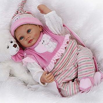 CUTDOLL Reborn Baby Doll Poupée Bébé Silicone Rose Vêtements Ours Ensemble  Fille Bouche magnétique Yeux Ouvert 0cd497c40de