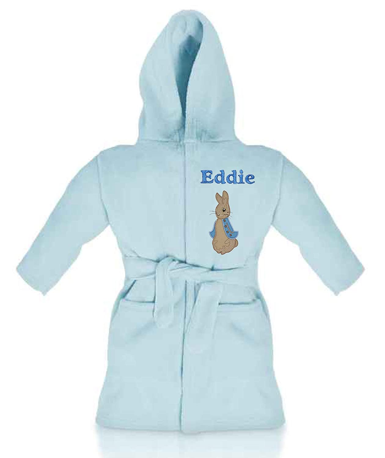 Peter Rabbit Personalised & Applique Super Soft Fleece Dressing Gown/Bathrobe (Baby Blue) Peter Rabbit Blue
