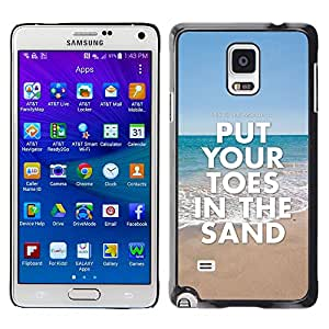Qstar Arte & diseño plástico duro Fundas Cover Cubre Hard Case Cover para Samsung Galaxy Note 4 IV / SM-N910F / SM-N910K / SM-N910C / SM-N910W8 / SM-N910U / SM-N910G ( Toes Sand Summer Sea Beach Blue Ocean)