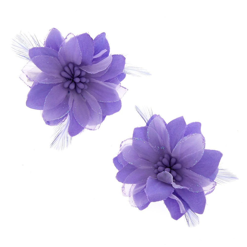 Claire's Girl's Lavender Feather Flower Hair Clips Purple. Claire' s Girl' s Lavender Feather Flower Hair Clips Purple.