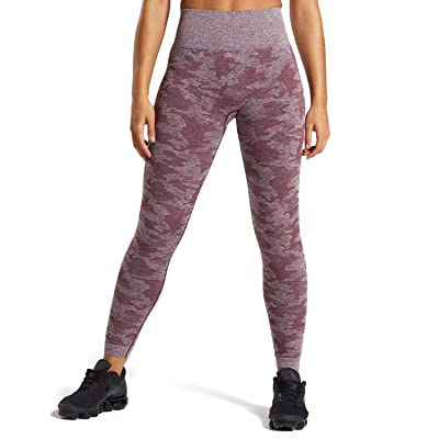 Aoxjox Yoga Pants for Women Workout High Waisted Gym Sport Camo Seamless Leggings: Clothing