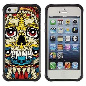 Be-Star único patrón Impacto Shock - Absorción y Anti-Arañazos Funda Carcasa Case Bumper Para Apple iPhone 5 / iPhone 5S ( Vampire Fang Acid Trip Yellow Skull )