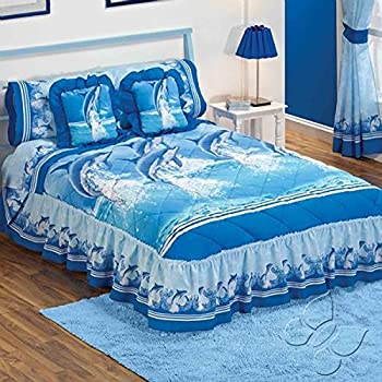 Blue sea dolphins bedspread sheets bedding set for Kitchen queen set