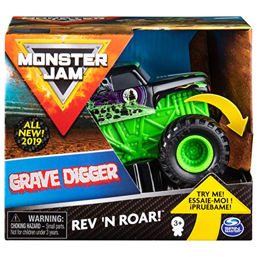 Monster Jam Official Grave Digger Rev 'N Roar Monster Truck, 1:43 Scale