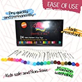 Fabric Markers Pens Permanent Color Art Markers 24 SET Premium Graffiti Fine Tip MINIMAL BLEED By Crafts 4 ALL .Child safe & non-toxic.