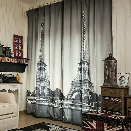 1 Piece Window Curtain Drape Panel Treatment With Paris Size 512W1024L Inches