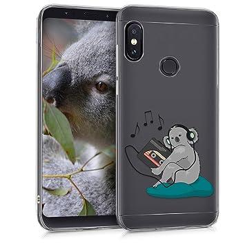 kwmobile Funda para Xiaomi Redmi Note 5 (Global Version) / Note 5 Pro - Carcasa de TPU para móvil y diseño de koala en gris / petróleo / transparente