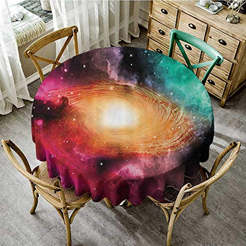 familytaste Table Decoration Supplies Zodiac Inspirational,Colorful Astronomy Picture of a Spiral Galaxy with Stars and Stardust Print,Black Pink Orange Green D 54