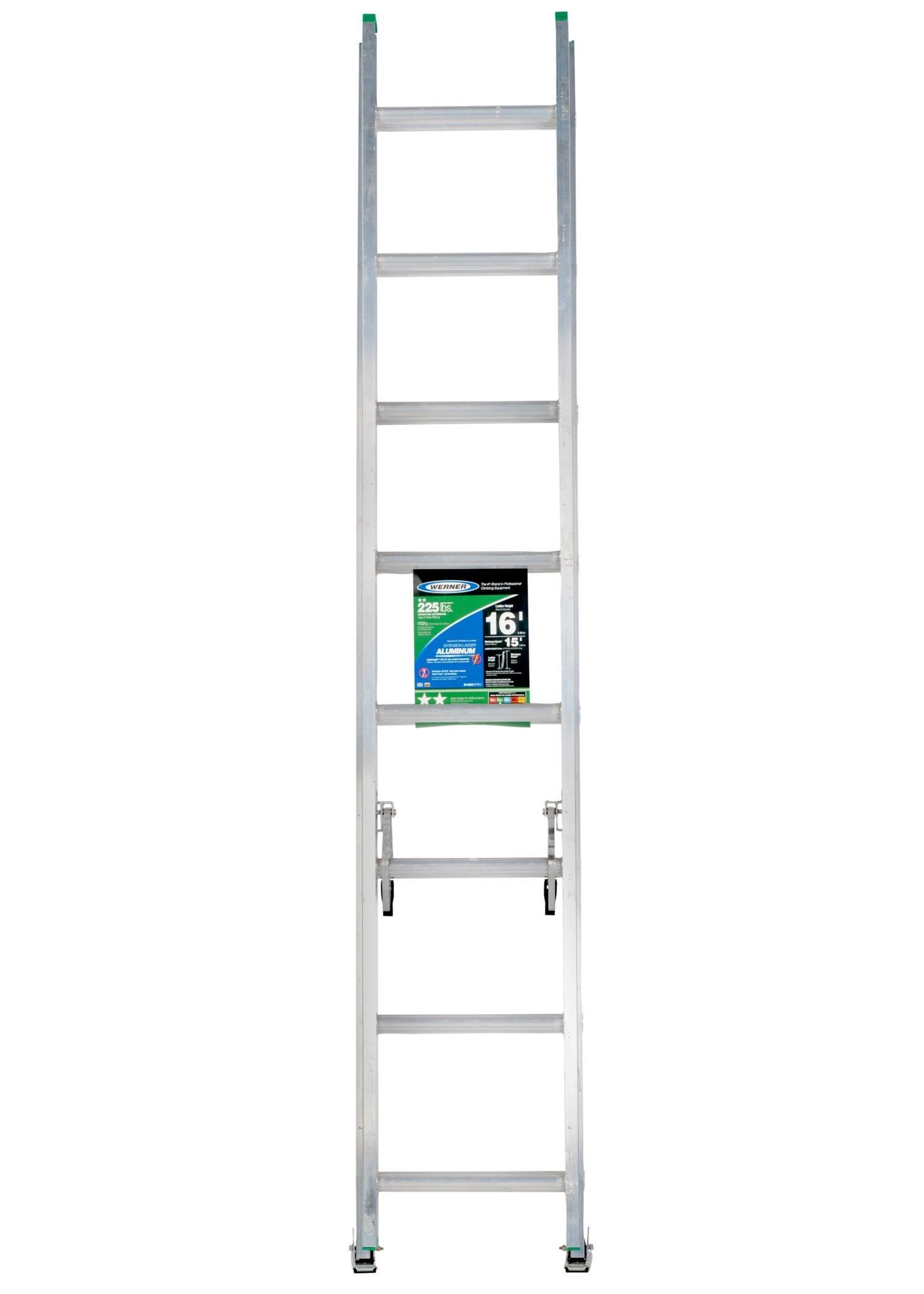 Werner D1216-2 225-Pound Duty Rating Aluminum Flat D-Rung Extension Ladder, 16-Foot