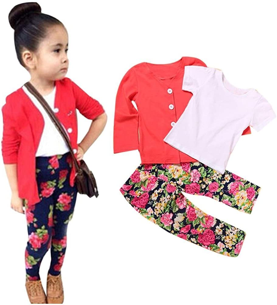 VEKDONE 1Set Kids Toddler Girls Long Sleeve T-Shirt Tops+Coat+Pants Clothes Outfits