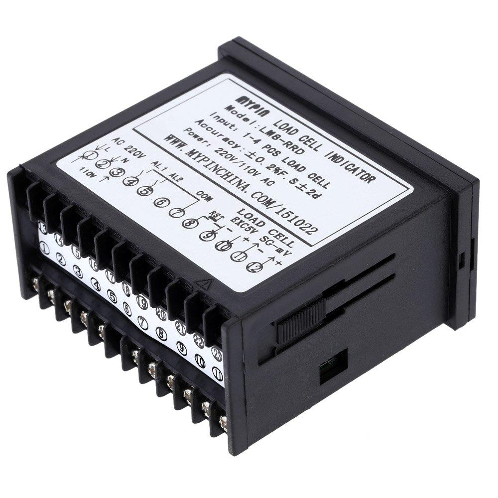 KKmoon Controlador de pesaje digital, indicador de célula de carga, 1 - 4 señal de célula de carga entrada, 2 relé, salida 4 dígitos, pantalla LED: ...