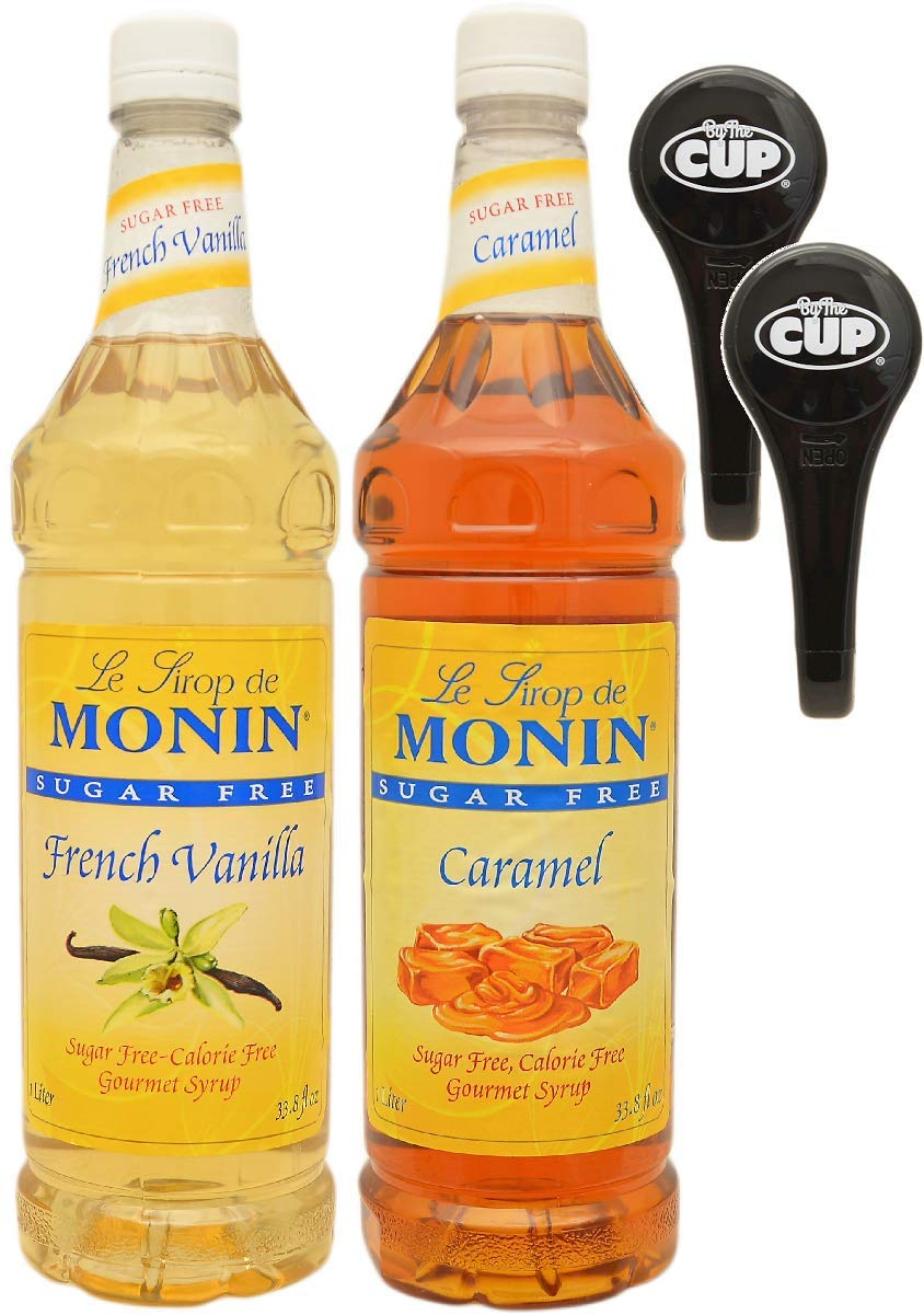 By The Cup Pump and Syrup Combo - Monin Sugar-Free Vanilla and Sugar-Free Caramel Syrup - 1 Liter Bottles with 2 Pumps