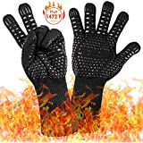 1472℉ Extreme Heat Resistant BBQ Gloves, Food Grade Kitchen Oven Gloves - Flexible Hot Grilling Gloves with L5 Cut Resistant, Silicone Non-Slip Cooking Gloves for Grilling, Welding, Cutting (1 Pair)