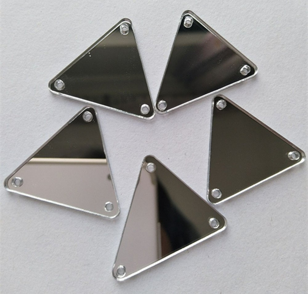(2x2cm, Silver) - 50PCS Sew On Triangle Mirror Piece, DIY Mirrored Rhinestones For Costume Evening Dresses Cloth Garment Decoration Accessory (2x2cm, Silver) B07B2L1RB7 シルバー 2x2cm