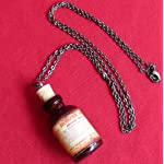 Steampunk Victorian Goth Apothecary Poison Bottle Pendant Charm Necklace- orange 6