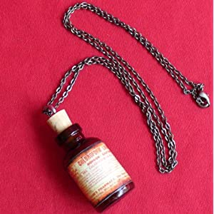 Steampunk Victorian Goth Apothecary Poison Bottle Pendant Charm Necklace- orange