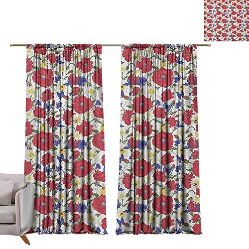 - Pocket Thermal Insulated Tie Up Curtains Floral,Blooming Red Poppies Chamomile Ladybird and Daisies Bumblebee Bees and Butterflies, Multicolor W96