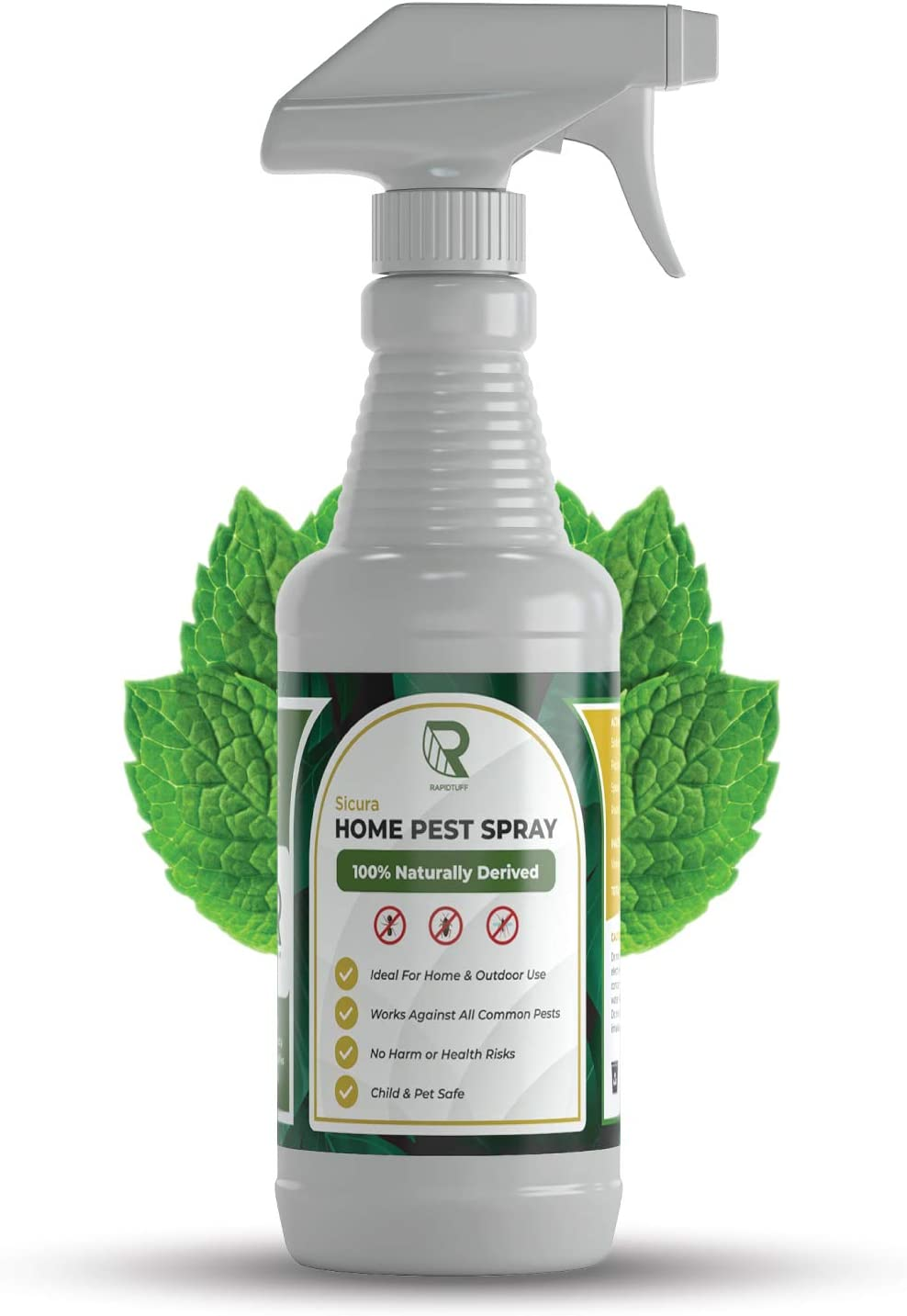 RAPIDTUFF Organic Home Pest Control Spray - Peppermint Oil - Kills & Repels, Ants, Roaches, Spiders, and Other Pests Guaranteed - All Natural - Pet Safe - (Indoor/Outdoor Spray - 16oz