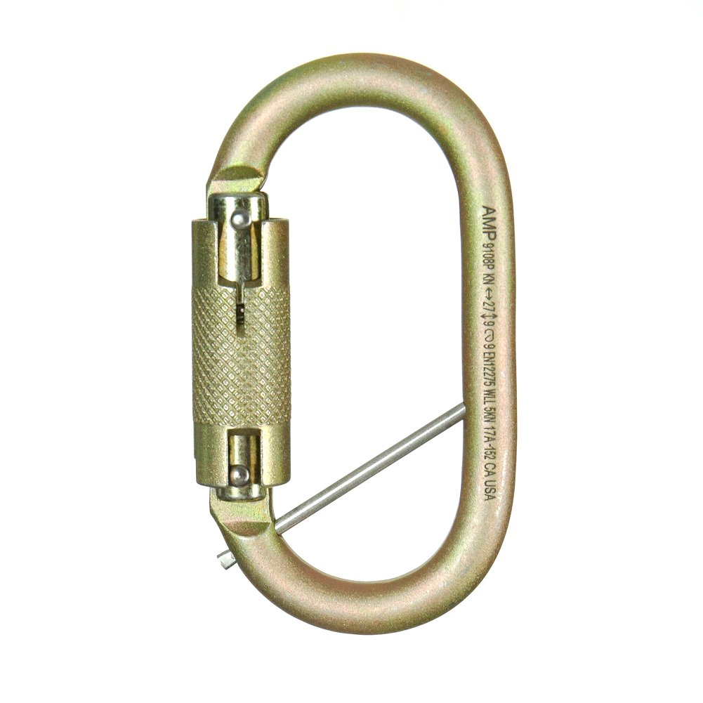 Fusion Climb Ovatti Military Tactical Edition Steel Auto Lock Oval Symmetrical Anchor Carabiner with Captive Eye Pin Gold by Fusion Climb (Image #1)