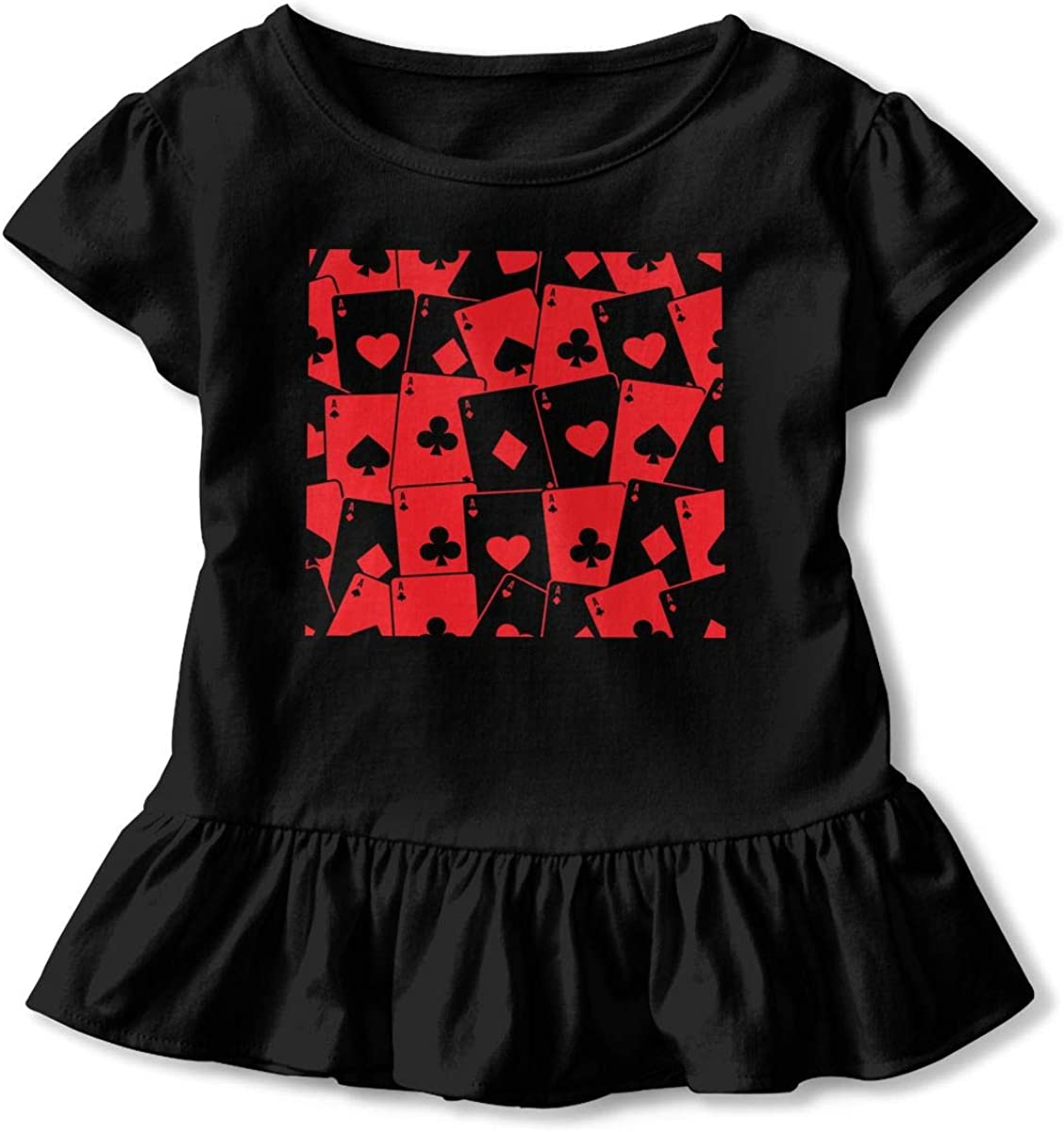 Red Poker Card Baby Girls Short Sleeve T-Shirt Ruffles Basic Shirt Dress for 2-6 Years Old Baby