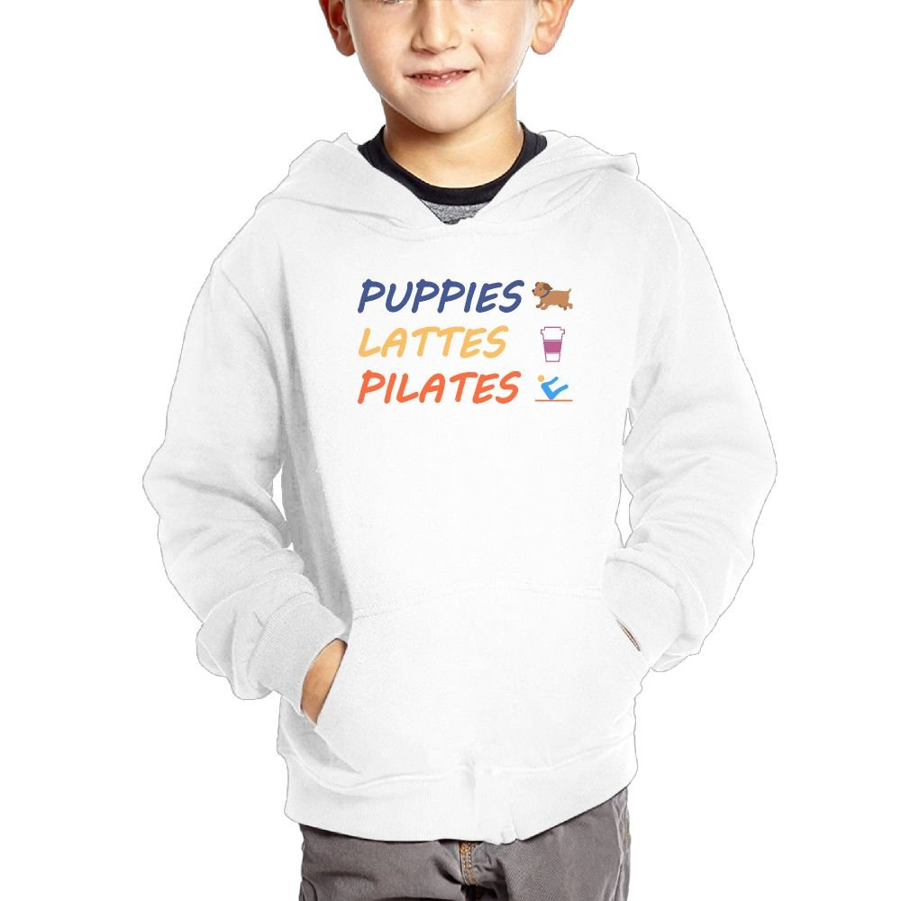 Small Hoodie Puppies Lattes Pilates Kids Graphic Pocket Hoodie