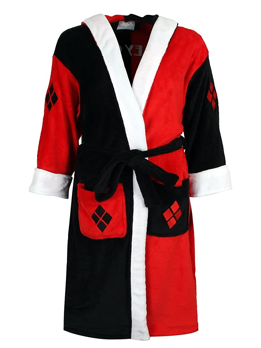 Official DC Comics Ladies Harley Quinn Red and Black Adults Fleece Dressing Gown