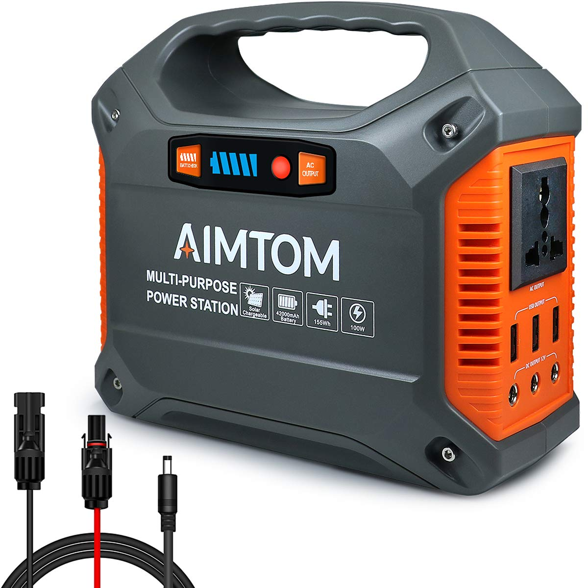AIMTOM 155Wh Portable Power Station, Solar Rechargeable Lithium Battery Backup Power Supply with 110V 100W Peak 150W AC Inverter Outlet, USB Ports, DC Output for Outdoors Camping Travel Emergency