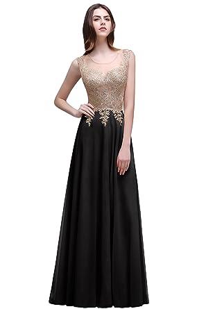 Misshow Gold Lace Applique Prom Dresses Long Evening Dresses For