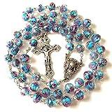elegantmedical Handmade Catholic Nice Bule Veluriyam Rose Beads & Italy Cross Rosary Necklace Gift Box