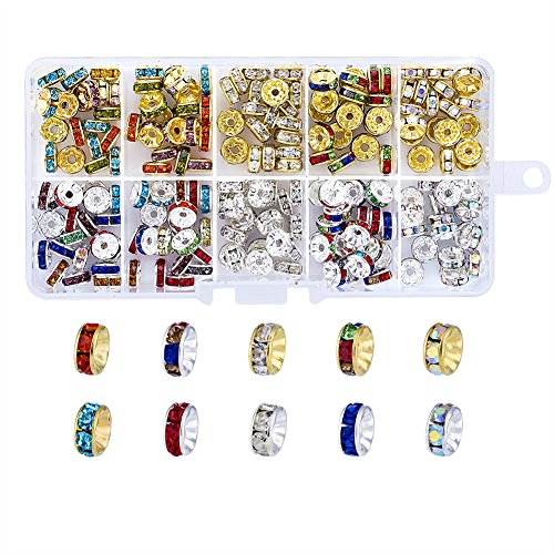 Pandahall Mixed Color Grade A Rhinestone Spacer Beads 8mm Straight Flange Silver & Golden Plated Rondelle Charms (About 200pcs/box)
