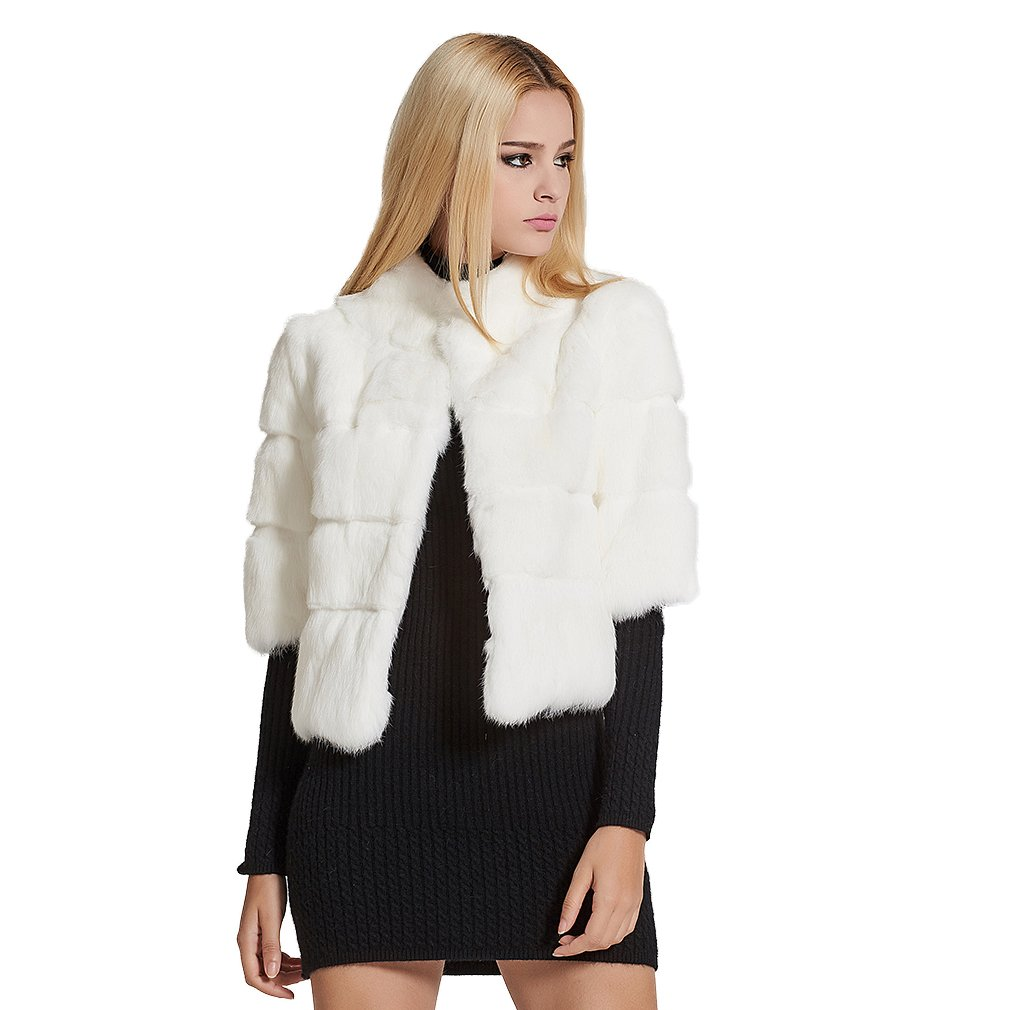 Fur Story Women's Real Rabbit Fur Coat Solid Color Winter Warm Fur Jacket Half Sleeves US8(White