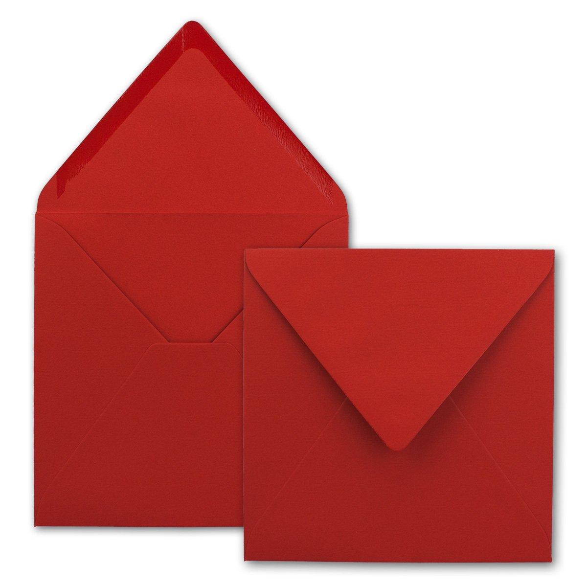 Buste per lettere quadrate/rosso, qualità pesante–molto stabile–110G/m², 158x 158mm, nassklebung, pizzo portafoglio//in della Serie colore felice di Neuser. 50 Umschläge rosso