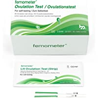 Femometer 20 Ovulation (LH) Test Strips Kit, Highly Sensitive and Accurate Results, Smart App (iOS & Android) Automatically Recognizing Test Results 20miu/ml FDA Standard