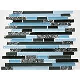 Laguna Blue Random Pattern Glass Tile & Granite Tile; Color: Black & Blue Glass with Blue Pearl Granite