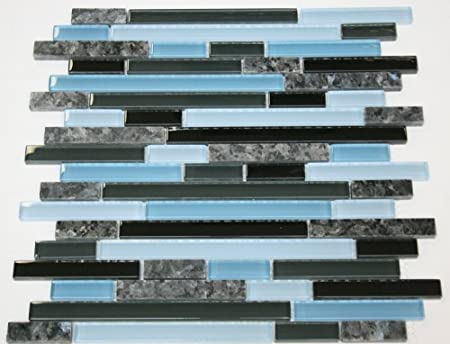 Laguna Blue Random Pattern Glass Tile Granite Tile Color Black Blue Glass With Blue Pearl Granite Blue Glass And Stone Mosaic Tiles Amazon Com